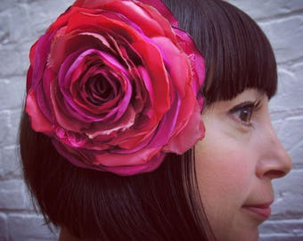 Bright magenta pink recycled satin rose hair flower clip fascinator