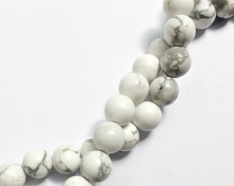 White Howlite Gemstone Beads - Round - 6mm