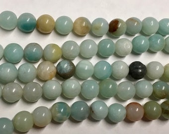 Amazonite Multi Color Gemstone Beads 8mm Rounds Approx. 23 beads