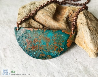 Copper Verdigris Moon Pendant, Handforged Copper Half Circle Metal Patina Jewelry  Blue Green Patina Necklace Rustic jewelry