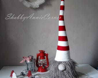 Scandinavian gnomes White red Christmas gnomes Norwegian gnome Large Nordic Christmas decorations Handmade gnomes Tomte Swedish gnomes Nisse