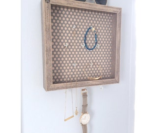 Jewelry Organizer Decor Display • Believe Organization Storage • Wall Mount • Key Hooks Dish • Lalas Workshop
