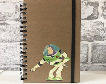 Disney Toy Story Upcycled Recycled Kraft Notebook Unique Gift Stationery Autograph Book