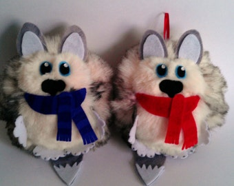 Husky Hanging Festive Decoration (Furr-Balls)