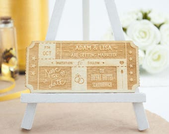 Personalised Wooden Ticket Wedding 'Save the Date'