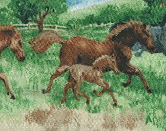 Quilting Fabric printed with horses 55x55 cm
