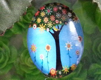 1 cabochon tree of life glass oval cabochons with flat back decorations ornaments, colorful, 30 x 22 x 6 mm