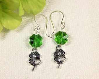 Shamrock Swarovski Crystal and Charm St. Patrick's Day Earrings (E64)