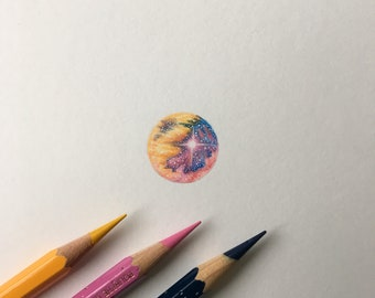 Galaxy Miniature Framed Original Drawing
