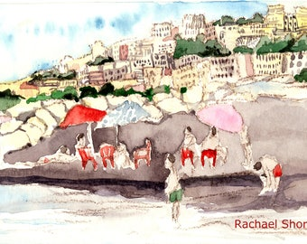 Italian Beach Plein Air watercolor 11x14 giclee print,Europe,impressionist,expressive,colorful,sketch,travel,art,swimmers,umbrella,landscape