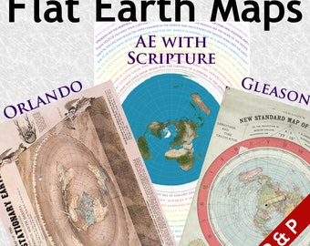 3 x Flat Earth Posters on 200gsm Silk Paper. Gleason - Orlando - Azimuthel with Bible Verses