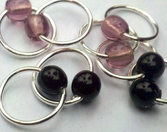 Goth girl silver lace stitch markers