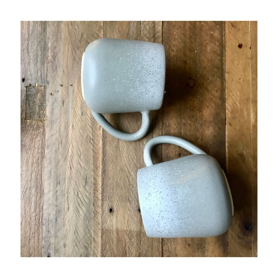ceramic mug - handmade coffee cup- Gray and white