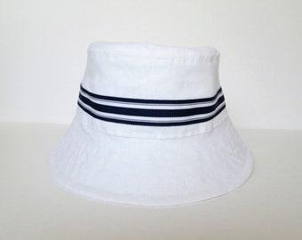 White Baby Bucket Hat, Linen Baby Sun Hat, Children's Summer Hat, Toddler Sun Hat, Kids Fisherman's Hat, 3 months to 6 years