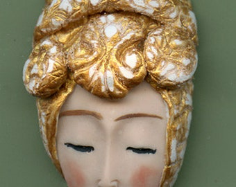 NEW ! OOAK Polymer Clay One of a kind Detailed   Face with Textured and  Layered Hat ATX 6