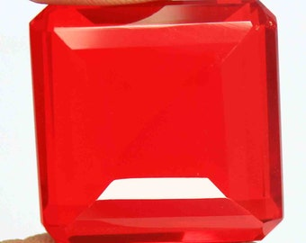 110.60Ct Certified Emerald Cut Brazilian Awesome Red Topaz Loose Gemstone AQ2712