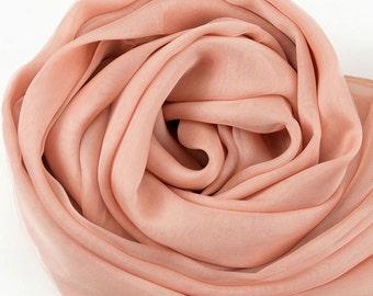 Light Salmon Color Silk Chiffon Scarf - Sandy Brown Silk Chiffon Scarf - Pale Orange Silk Chiffon Scarf - AS216