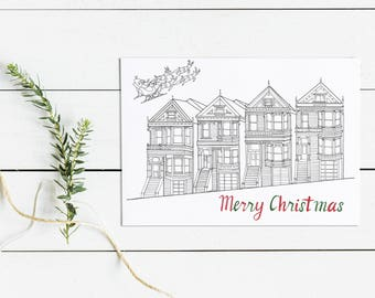 San Francisco Alamo Square Christmas Greeting Card