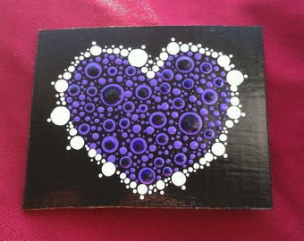 Purple and white Valentines Day heart card