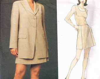 MICHAEL KORS Size 12-16 Misses Jacket & Skirt Sewing Pattern  - Mini Skirt Pattern - Loose Jacket Sewing Pattern - Vogue 1489