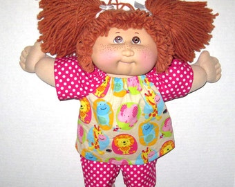 Cabbage Patch, Doll Clothes, 15  16 inch Doll Clothes,  Pink Polka Dot and Colorful Zoo Animals Shorts and Top