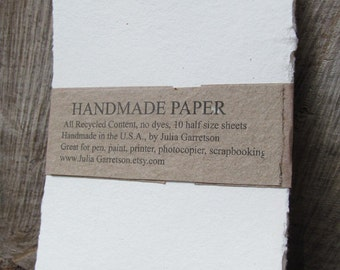 Handmade Paper from upcycled White cotton T-shirts, Eco- Friendly and Archival, 8 1/2 x 5.5 inches-Recycled Handmade Paper