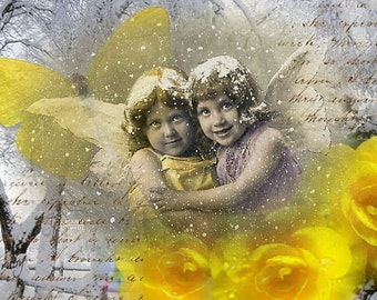 ZNE ATC ACEO -  Snow Angels - Digital Collage Art by Ruby
