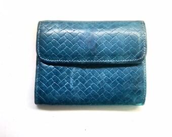 Blue Leather Wallet,  Women's Vintage Woven Genuine Leather Wallet