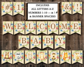 Woodland Baby Shower Banner, Printable Includes ALL LETTERS A-Z, Numbers 0-9, Spacers & symbols Decorations - Instant Download - 010
