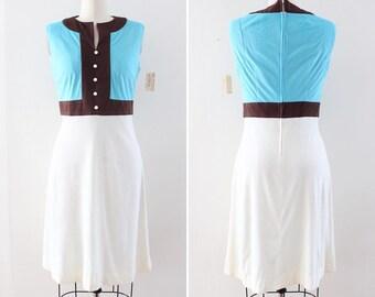 1960s Mod Dress Medium - Deadstock NWT Color Block Dress - Twiggy Carnaby Street Go Go