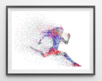 Female Runner watercolor print running poster runner illustration sport art print the runner wall art gift for runners [336]