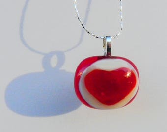 """Beautiful heart-shaped red and white  fused glass (1"""" wide); Pendant hangs on a 18"""" silver necklace. #229"""