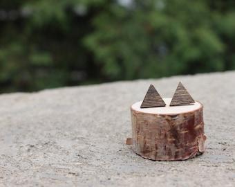 Wood Geometric Earrings // Triangle Earrings // Boho Earrings // Walnut Earrings // Natural Earrings // Wood Grain Studs