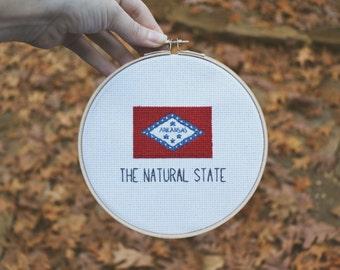 Arkansas Flag Cross Stitch