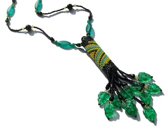 Black, Yellow, with Green Leaves Beadwoven Rainstick Necklace