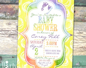 Watercolor Personalized Print at Home Baby Shower Invitation Baby Footprints Rainbow Yellow