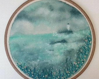 Lighthouse with Flowers - Hand Painted & Stitched Embroidery Hoop Artwork