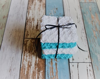 Set of 4 medium, cotton dish cloths/wash cloths***white & turquoise