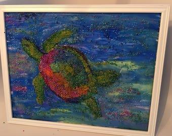"Beaded Artwork "" Turtle Under the Sea """