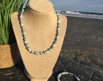Beaded Necklace and Bracelet-Glass Beaded Jewelry-Spring Easter Jewelry-Periwinkle and Pearl-Gift for Mom