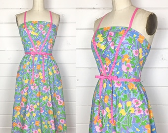 Vintage 1970s Purple Floral Fit & Flare Sundress / Cross Back / Made by Jenni / Full Skirt