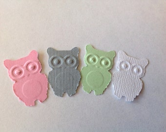 50 pc Paper Owls  pinks whites greys light green  New Baby  Party