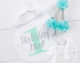 First Birthday Bib & Party Hat, Aqua mint and Silver Princess Hat, First Birthday Set