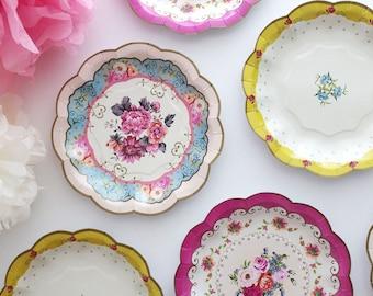 Sale 12 FLORAL TEA PARTY Mini Paper Plates Parisian Vintage Style Shabby Chic Garden Tea Time & Blue And Green Paper Plates \u0026 Desription Materialpaper Dia7 ...