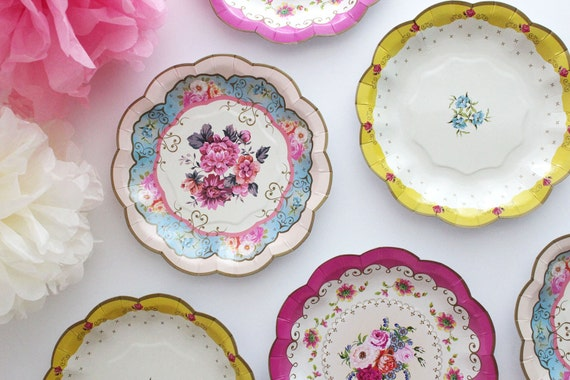 & Sale 12 FLORAL TEA PARTY Mini Paper Plates Parisian Vintage