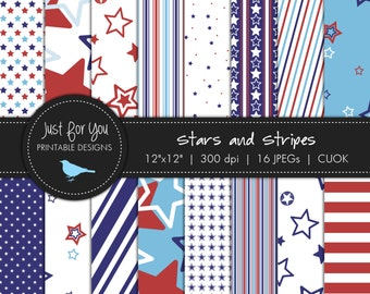Stars and Stripes Scrapbooking Papers / Backgrounds- 4th of July - Independence Day - USA - Memorial Day - Graphic Design - CUOK