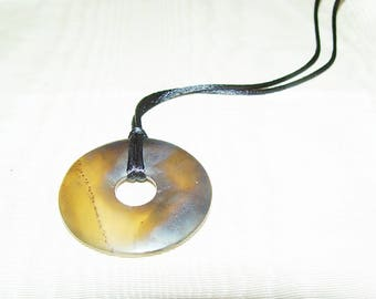 Agate Circle Necklace-Tribal Stone Spirit-Black Cord-26 Inch