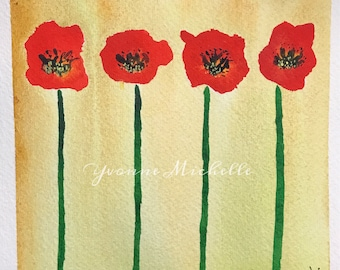 Poppies No. 016 - Original Watercolor Painting, Floral, Art, Wall Decor