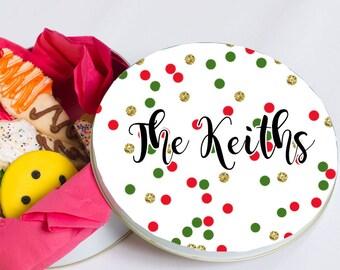 Round Cookie Tin - Personalized Christmas Cookie Tin - Decorative Tin - Holiday Tin - Glitter Confetti Cookie Tin - Custom Name Tin