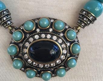 Heidi Daus RHAPSODY HUES Swarovski Crystal Pendant NECKLACE Faux Turquoise Onyx